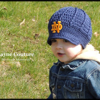 The Original- Notre Dame Crochet Newsboy Hat with Patch / Notre Dame Baby / Item 1202