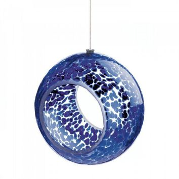 Blue Speckled Glass Bird Feeder