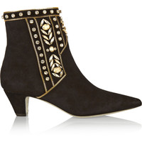 René Caovilla - Embellished suede ankle boots