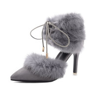 New Sexy Rabbit Fur Booties Pointed toe Stiletto  High-Heeled  shoes Women Gladiator Ankle Strappy Beautiful Pumps