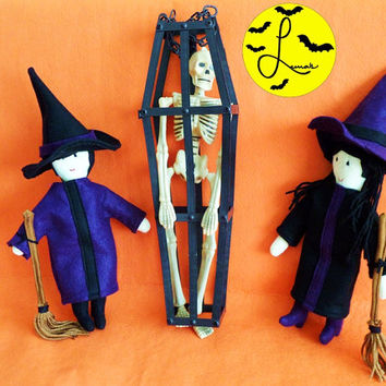 Halloween Witch Doll with Broom accessory, made of Fleece, Felt and Yarn. OPTIONAL: Hair option and Wardrobe Color option
