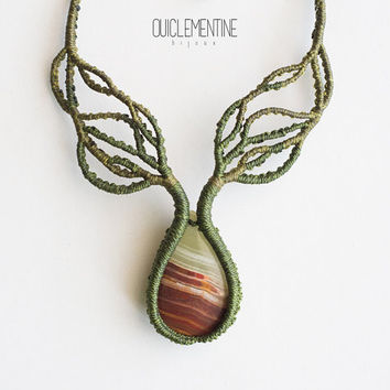 Branches necklace, handmade tree branches, green rustic macrame necklace, tree roots elven necklace