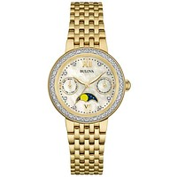 Bulova Womens Diamond Moon Phase Watch - Gold-Tone - Mother of Pearl Dial