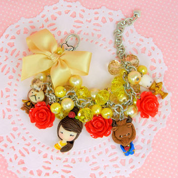 Beauty and the Beast charm bracelet, Princess Belle bracelet, Belle jewelry