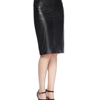 Leather/Ponte Pencil Skirt, Size: