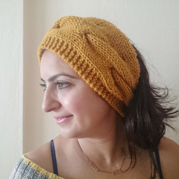 HEADBAND/ Mustard Knit Headband/ Cable Knit Headband/ Earwarmer/ Knit EarWarmer/ Button/ Cable/ Girls/ Women/ Neckwarmer/ Two in One/ Winter