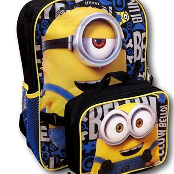 New 2017 Despicable Me Minions 3 Backpack with Detachable Insulated Lunch Box