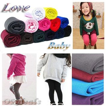 1 Pair Winter Warm Children Baby Girl Boy Kids Toddler Little Girl Clothes Pure Color Plus Velvet Leggings Pants 2-8Y Z