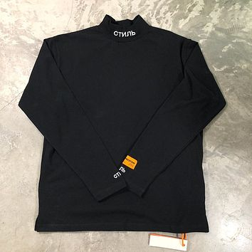 82ee1c15 Best Quality Heron Preston Men Women Turtleneck Collar Embroidery T shirt  Pullover Hiphop 1:1