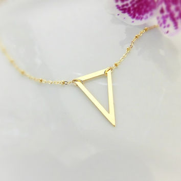 Satellite Chain Necklace - Gold Triangle Necklace - Layering Necklace