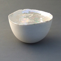 Handmade Porcelain Pearly Bowl - Large - Mothers Day Gift Idea - Pearl Anniversary Gift