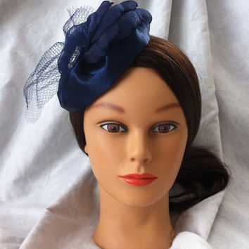 Navy Blue Fascinator/Mini Hat/Cocktail Hat