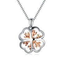 14K Rose and White Gold Frozen Snowflake and Lucky Clover Pendant (16'), Mother's Day Jewelry in Gift Box