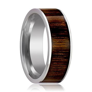 Tungsten Wedding Band - Black Walnut Wood Inlay - Polished Edges - 6mm - 7mm - 8mm - 10mm - Tungsten Carbide Wedding Ring