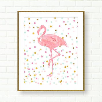 Baby Nursery Art Print Flamingo Pink Aqua Gold