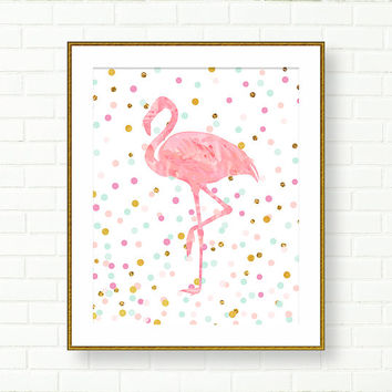 Baby Girl Nursery Art Print, Flamingo Print, Pink, Aqua, Gold, Girl Room Art, Pastel, Glitter, Confetti, Glam, Vanity Decor, Modern Wall