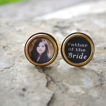 Father Of The Bride  Cuff Links - Gift For Dad - Wedding Gift - Father Of Bride - Gold Photo Cuff Links - Custom Wedding Gift