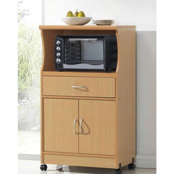 Mobile Microwave Cart with Kitchen Storage Drawer & Shelves in Beech