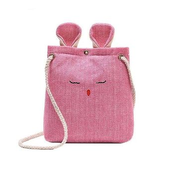 Burlap Canvas Cat Crossbody Handbag - Cute, Small & Simple - Multiple Colors