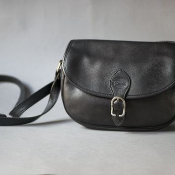 Longchamp Bag Black Vintage. Messenger Bag Genuine leather. Crossbody Bag Authentic Longchamp. Parisian Women's Shoulder Bag Retro Gift