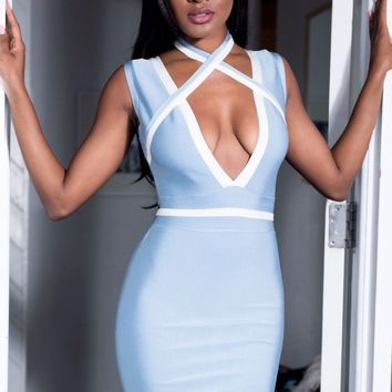 Oana Baby Blue Bandage dress