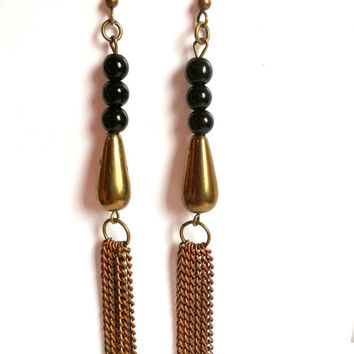 Bronze Copper Tassel Earrings Shoulder Dusters Copper Black Shoulder Length Dangle Earrings Red Copper Bronze Black Extra Long Earrings