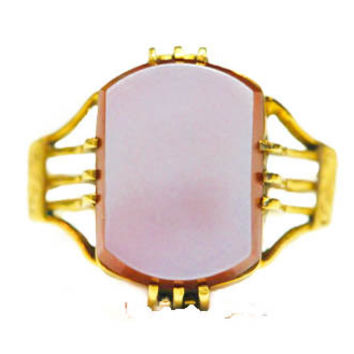 Victorian Secret Compartment Chalcedony and Gold Ring By BellmansOnlineStore