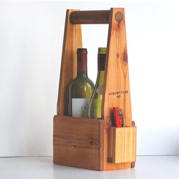 Handcrafted Two Bottle Wine Carrier