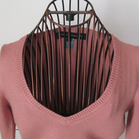 Pink Cleavage Sweater Blouse French Connection Spring Blouse Womens sz S Petite Juniors Top sz S  Petite Clothing Sexy Blouse Pink Blouse