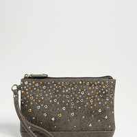 distressed faux leather wristlet with rhinestones