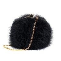 Zarapack Women's Faux Fur Fluffy Feather Round Clutch Shoulder Bag