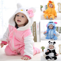 Animal baby rompers boy girl Hello kitty Cartoon pink Jumpsuit Pajamas warm Autumn Winter Children coral fleece cute Stitch