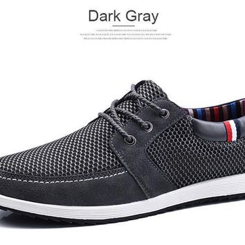 Men's Casual Lace Up Platform Breathable Anti-Odor Hard-Wearing Boat Shoes