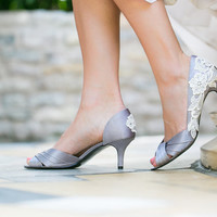 Wedding Shoes - Silver/Grey Wedding Shoes, Bridal Heels with Ivory Lace. US Size 7