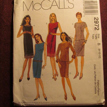 Sale Uncut McCall's sewing pattern, 2972! 8-10-12 Small/Medium/Women's/Misses/Petite/Evening Dress/Sheath Dress/Bateau Neckline/Sleeveless T