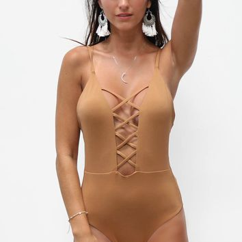 Water Sign Brown One Piece Swimsuit