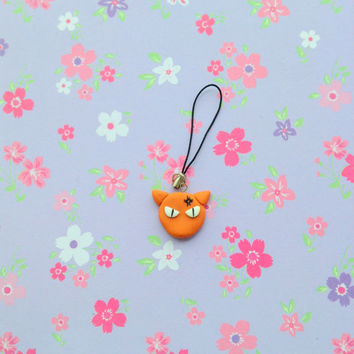 Anime Fruits basket polymer clay charm  angry Kyo Sohma cat form kawaii manga keychain