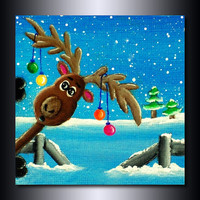 "Christmas Print: ""Photo-Bombing Reindeer 8 x 8"