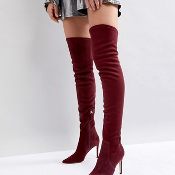 Dune London Pull On Over The Knee Suede Boot in Berry at asos.com