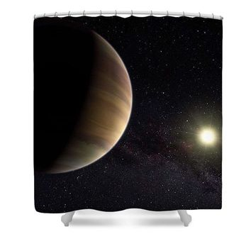 Solar System Watercolor Series No 1a - Shower Curtain
