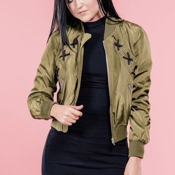 Ellie Lace Up Bomber Jacket