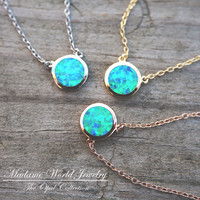 Reconstitute Blue Opal Bezel Set Circle Necklace