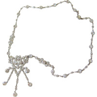 Art Deco Sterling Crystal Drop Necklace