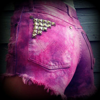 "Vintage High Waisted Ombre Tie Dye Studded Wrangler Cut Off Shorts 25"" Waist"