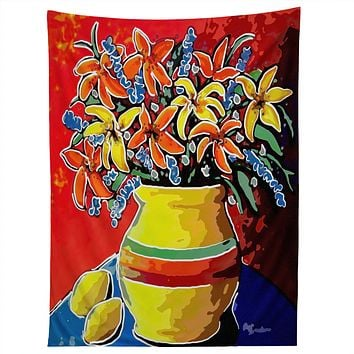 Renie Britenbucher Stylized Lillies And Lemons Tapestry