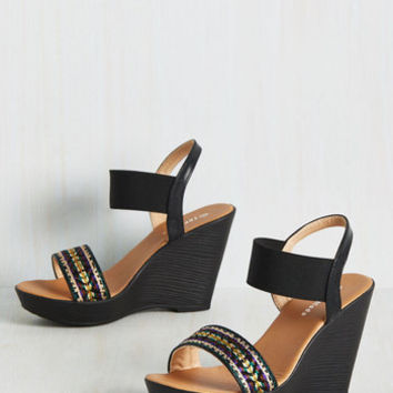 Do You Be-Weave in Magic? Wedge in Black | Mod Retro Vintage Heels | ModCloth.com