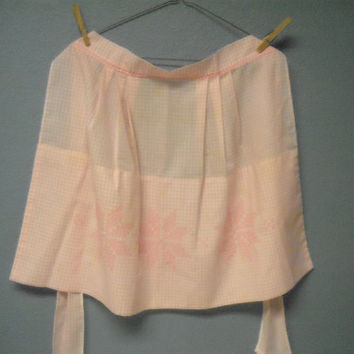 Vintage - Hand made Pink Gingham Embroidered Half- Apron - Hand Made - circa 1960's