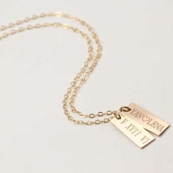 Roman Numeral Gold Bar Necklace, Kim Kardashian, Celebrity Custom Personalized Jewelry, Engravable Personal Gift, Bridesmaids