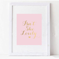 Pink and Gold Foil Baby Girl Wall Art Decor Digital Printable Typography Design