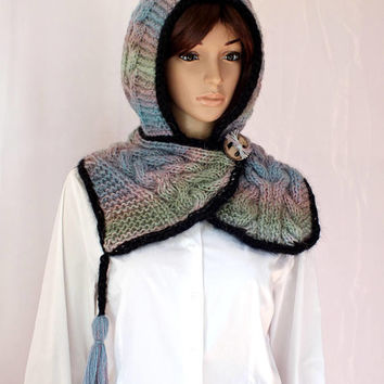 OOAK Hand Cable Knit Hooded Boho Style Hooded Hat Scarf Ombre Angora Wool Acrylic Pastel Multicolor Yarn Pom Pom Hat Hood Chunky Cowl Winter